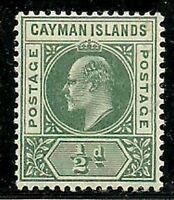 Album Treasures Cayman Islands Scott # 3  1/2p Edward VII Mint Hinged