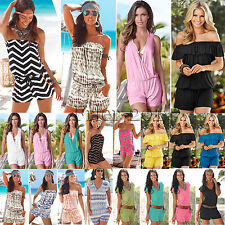 Women Holiday Mini Playsuit Casual Jumpsuit Shorts Rompers Summer Beach Dress AU