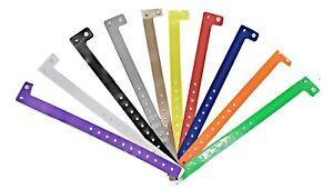 Wristbands Vinyl Plain 16mm Colours avail L Shaped Events Security Stud Plastic