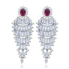 S4 Made With Swarovski Crystals The Melina Silver & Red Statement Earrings $198