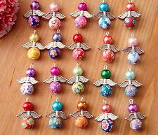 20x Angelo Charm Ciondoli Tondo Fiore Argilla Perline Argento Ali colori possono variare