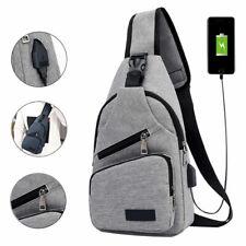 USB Charging Men Shoulder Bag Sling Chest Pack Outdoor Sports Crossbody Handbag