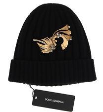 NEW $900 DOLCE & GABBANA Hat Beanie Brass Crystal Brooch Cashmere Black One Size