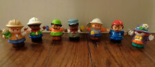 7 Fisher Price Little People Male Figures -- Clown, Mechanic, Zoo, Construction