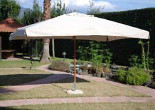 Ombrellone giardino 3x2 m palo centrale in legno telo idrorepellente Ecru OASI