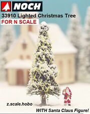 """NOCH 33910 N Scale White Lighted Christmas Tree Santa Claus 2"""" NEW $0 Shipping"""