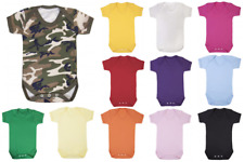 Baby Grow - Plain Vest Boy Girl Christening Camo Colour 100% Cotton shower gift