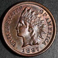 1887 INDIAN HEAD CENT - With LIBERTY & 4 DIAMONDS - Choice AU+ UNC