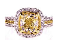 3.50 CT Cushion Cut Natural Fancy Yellow Color Diamond Ring GIA Certified VS1