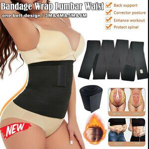 Lumbar Waist Support Snatch Me Up Bandage Wrap Sweat Trimmer Belt Body Shaper UK