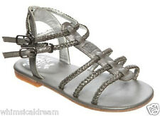 Escada girls silver leather sandals shoes Sz Euro 29 10.5 - 11 New in box