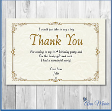 10 x PERSONALISED GOLD BIRTHDAY THANK YOU CARD ANY AGE/OCCASION WITH ENVELOPE