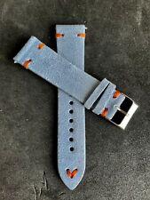 20mm Light Blue Suede Vintage Leather Watch Strap Band Orange Stitch