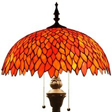 """Tiffany Style Torchiere Wisteria Floor Lamp Red Stained Glass 64"""" High x 16"""" Dia"""