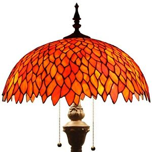 "Tiffany Style Torchiere Wisteria Floor Lamp Red Stained Glass 64"" High x 16"" Dia"