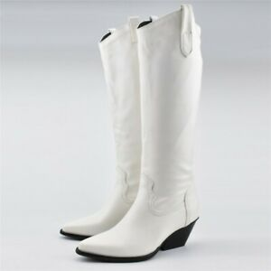 Women's Western Boots Knee High Mid Heel Cowgirl Cowboy Boots Shoes White US 9.5