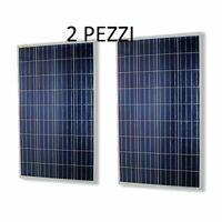 Pannello solare fotovoltaico celle silicio 100 w watt 12V 2 pezzi pz 100w
