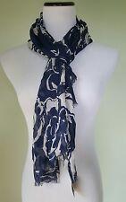 Ralph Lauren navy blue white floral scarf