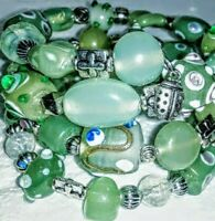 New Memory Wire Bracelet With Jade Green and Silver toned glass beads,  Handmade