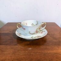 Vintage Haviland Limoges Wild Roses Bouillon Cup and Saucer