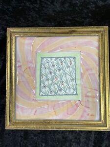 """Gold Framed MacKenzie-Childs Trivet BEARDED IRIS - 10.5"""" Square - Pink & Peach"""