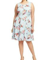 Gilli Light Blue Sleeveless Floral Print Fit And Flare Dress Size Medium
