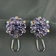 18k Gold GF with Swarovski elements brilliant crystals purple cluster earrings