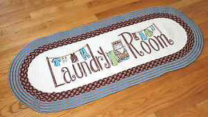 Laundry Room 4 Ft Long Braided Oval Rug Blue Mat Washer/Dryer Utility Decor