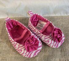 Child of Mine White Pink Zebra Stripe Newborn Baby Shoes Hot Pink lining Flower