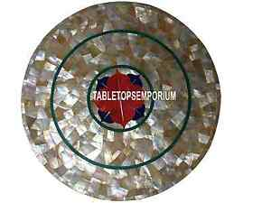 16'' White Marble Rare Center Table Top Abalone Stone Inlay Mosaic Outdoor Decor