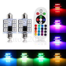 2PCS RGB LED Festoon Map/Dome Interior 16Colors Light Bulbs 41MM 42MM C5W Remote