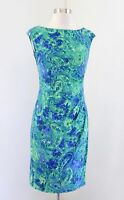 Lauren Ralph Lauren Blue Green Watercolor Paisley Floral Ruched Wiggle Dress 2