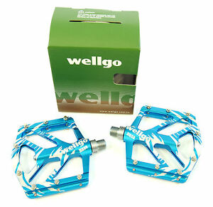 Wellgo B252 Mag Magnesium Low Profile Mountain Bike Pedals, Blue, 155g