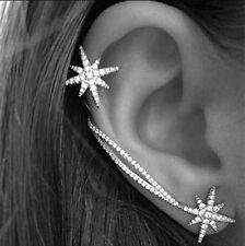 1 Women Lady Gothic Trendy Chic Star Crystal Party Long Bar Stick Earrings Ear