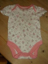 George 100%Cotton S/Sleeve 'Birds' Bodysuit 0-3mths 56-62cm Pink Mix BNWoT