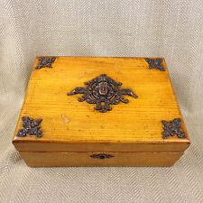 Antica scatola in legno Art Nouveau in Rovere & Ottone