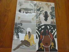 4 Modern Minimalist Black Woman Leaf Canvas Wall Art Fashion Ethno Spa Bath Set