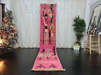 "Boujaad Moroccan Handmade Runner Rug 2'2""x11'6"" Abstract Pink Wool Berber Carpet"