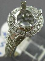 ESTATE 1.1CT DIAMOND 14K WHITE GOLD FILIGREE MILGRAIN SEMI MOUNT ENGAGEMENT RING