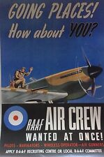 "WW2 Recruiting Poster ""R.A.A.F AIR CREW WANTED AT ONCE"" A3"
