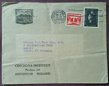 Cinchona Instituut Commercial Cover 1939 Amsterdam Centraal Station to Exeter UK