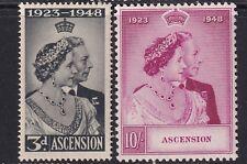 More details for ascension-1948 royal silver wedding set sg 50-51 mounted mint