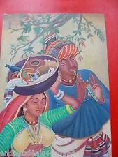 INDIAN COUPLE -VINTAGE ORIGINAL OIL ON CANVAS-DETAILED-COLORFUL-ETHNIC PAINTING