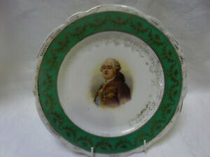 ANTIQUE VICTORIAN DISPLAY PLATE WITH PORTRAIT OF KING LOUIS XV1 signed RIVIERE