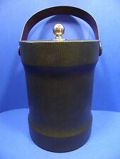 Bucket Brigade Ice Cooler Faux Leather Dark Green Carry Handle Morgan Designs