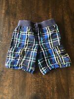 Gymboree Toddler Boys Cargo Shorts, Size 3T, Blue Plaid, Elastic Waist