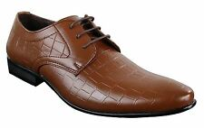 Mens Black Tan Brown Crocodile Snake PU Leather Shoes Laced Smart Formal Pointed