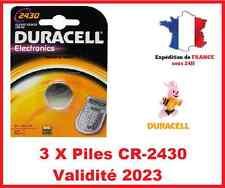 3 Piles CR-2430- DL-2430 DURACELL bouton Lithium 3V DLC 2024