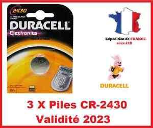 3 Piles CR-2430- DL-2430 DURACELL bouton Lithium 3V DLC 2025