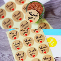 60Pcs Small Red Love Heart Thank you Label Seal Kraft Paper Baking Stickers